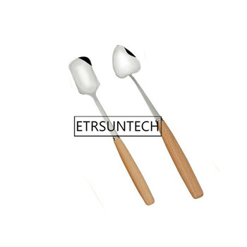 100pcs Wooden Handle Spoons Heart Square Shape Spoon Dessert Ice Cream Spoon Coffee Tea Mixing Tableware