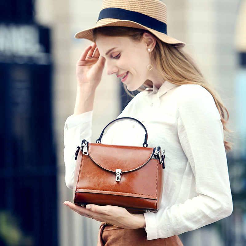 Сумки из натуральной кожи в европейском и американском стиле, женские сумки-мессенджеры на плечо