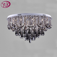 Youlaike Smoke Grey Crystal Chandelier For Living Room Dia80*H45CM Modern LED Crystal Lamp For Ceiling Lustres De Cristal