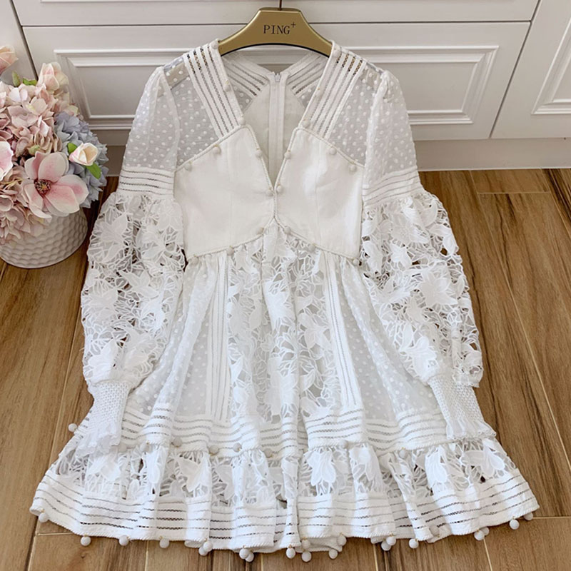 Red RoosaRosee Summer Sexy V Neck Black Embroidery Hollow White Mini Cotton Dress Women Elegant Party