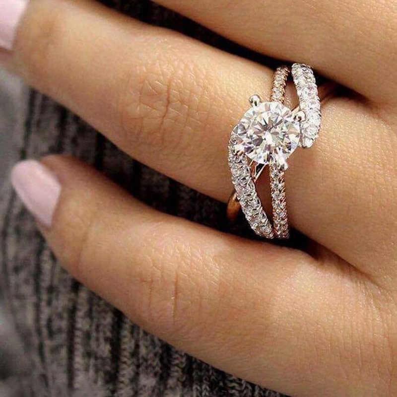2019 New Round Cut Cubic Zircon Engagement Rings đối với Phụ Nữ Phụ Nữ Tăng Vàng Sliver Màu Wedding Ring Quà Tặng Đồ Trang Sức