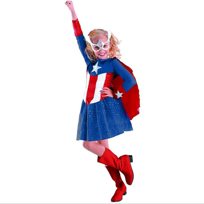 high quality Blue Girls Captain America Dress Kids Superhero Cosplay clothing Child Disguise Masquerade Party Halloween Costume