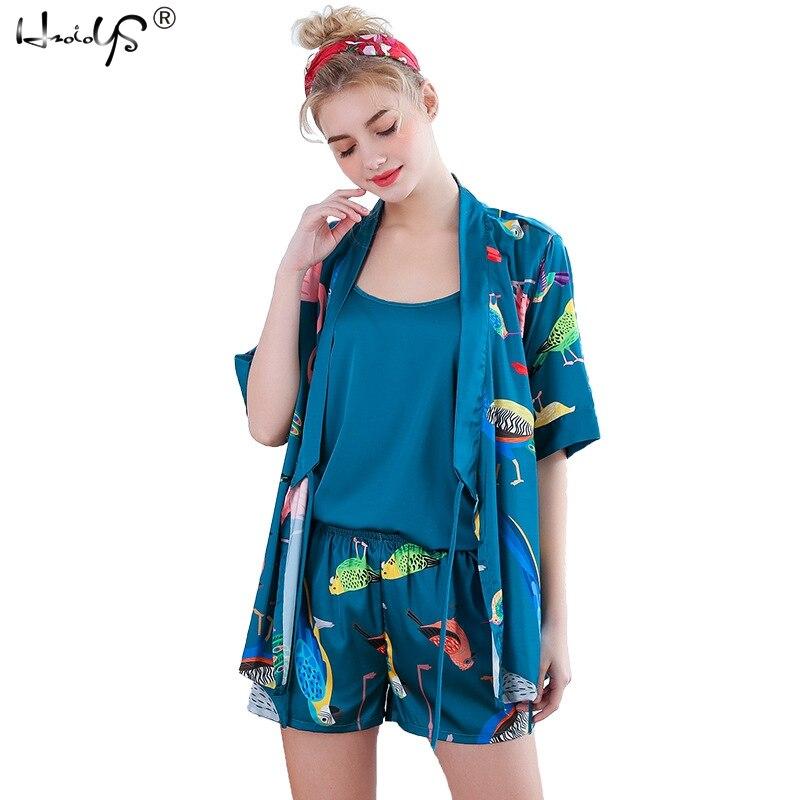 2019 Satin 3 Pcs Sleepwear Sexy Lace Silk Woman   Pajama     Set   Printing Sweet Nightgown+Cardigan+Shorts   Set   Female Pijama Robe   Sets