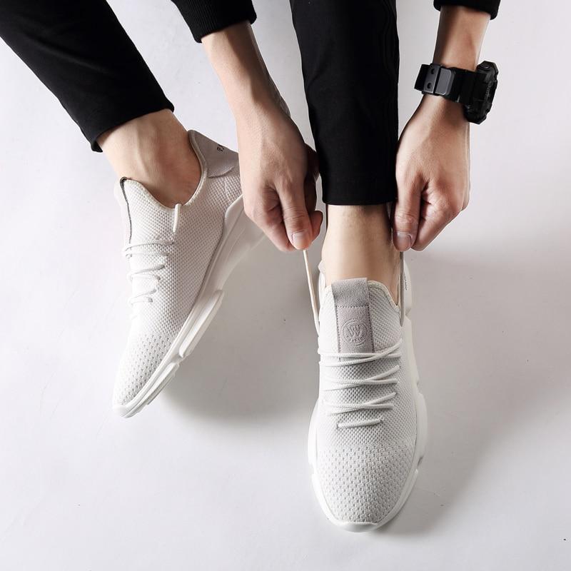 Simple Style Blanc Noir Hommes Chaussures Net Chaussures Hommes 2018 - Chaussures pour hommes - Photo 2