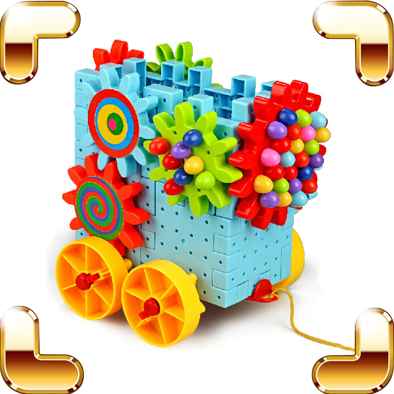 ФОТО New Idea Gift Children Gear Blocks Toys Baby Education Learning Built Toy Model Car Assemble Brick Rotate Gear Machine For Kids