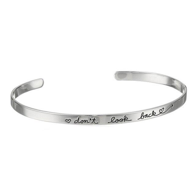 don't look back Open Cuff Adjustable Bracelet Bangles for Women Simple Letter Bracelet Femme Metal Punk Jewelry Birthday Gifts
