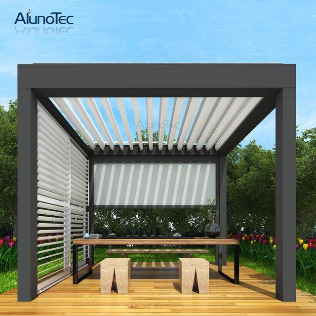 Ip 67 Electric Customized Pergola Opening Patio Aluminium Louver Roof Systems 4m Width X 5m Projection 3m Height