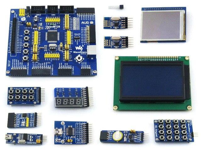 2 pcs Placa de Desenvolvimento AVR ATMEL ATmega128A-AU 8-bit RISC AVR ATmega128 Conselho de Desenvolvimento + 11 Kit de Acessórios = OpenM128 Pacote B