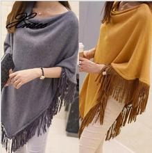 Spring and autumn irregular loose large size sweater in the long paragraph cloak shawl was thin jacket female sweater jacket