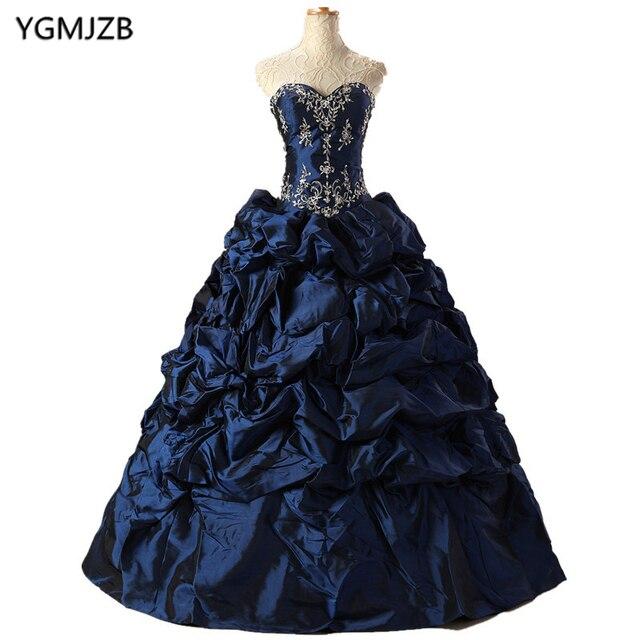 12e5688a9 Barato azul coral Vestidos de quinceañera sweetheart Ruffles con cuentas  vestidos de 15 anos vestido dulce