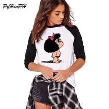 Милая футболка с принтом Toda Mafalda, женские брендовые топы с длинными рукавами, Осенний весенний Повседневный свободный стиль, большие размеры, футболка, крутые футболки с круглым вырезом