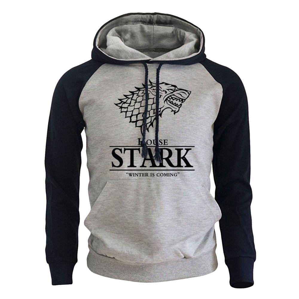 2018 Raglan Hoodies For Men House Stark The Song of Ice and Fire Winter Is Coming Men's Sportswear Game Of Thrones Sweatshirt(China)