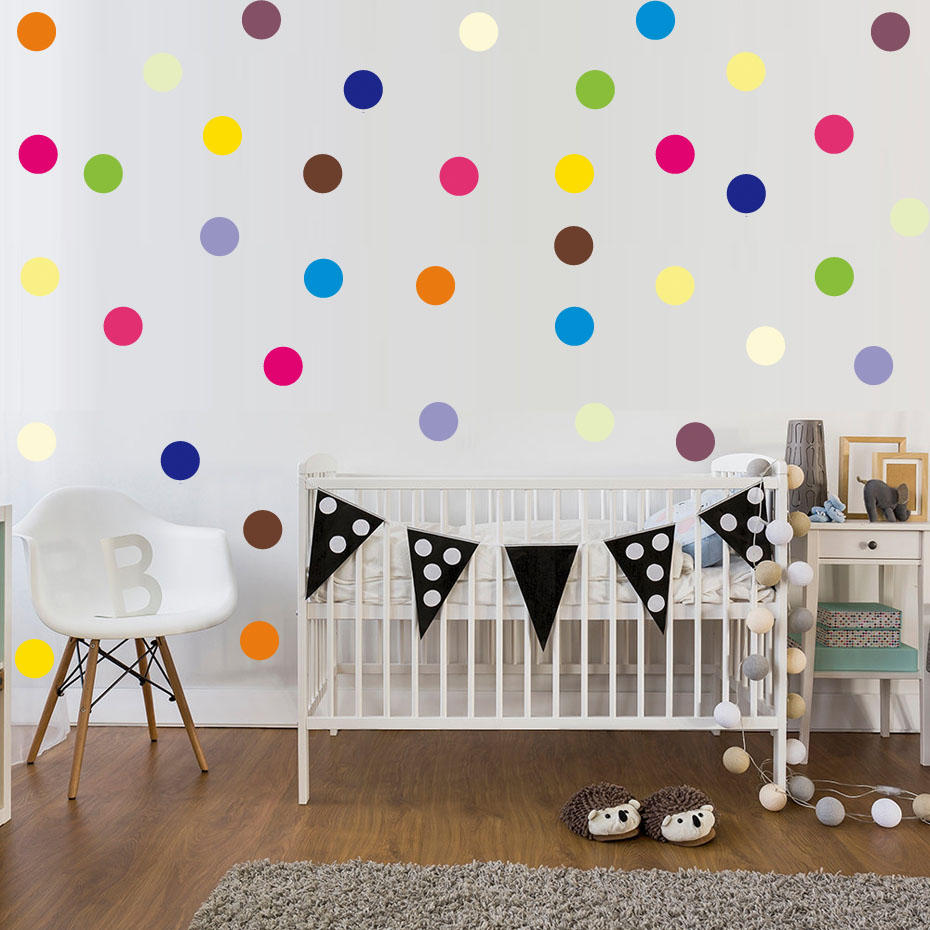 120pcs colorful polka dot vinyl stickers removable circle for Diy colorful wall art