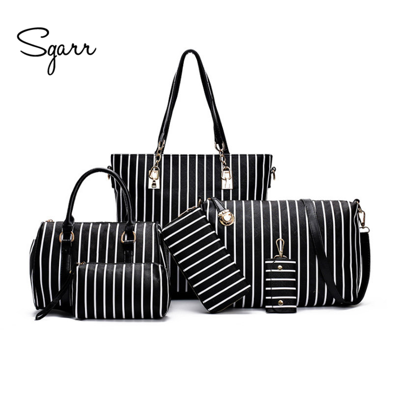 SGARR New Fashion Women Handbag Shoulder Bag Luxury Designer PU Leather Striped Ladies Messenger Bags 6 Pieces Set Composite Bag