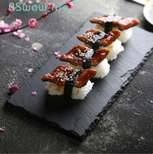 Slate Plate Home Japanese Sushi Rock Tray Barbecue Dishes And Plates Sets Dessert Dish For Kitchen Dinner