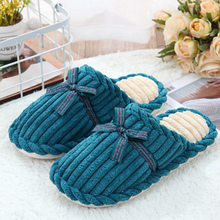 Woman's winter slippers Corduroy  Plus Size 43-44 Suede Warm slippers woman Butterfly Knot Gingham Home Slippers Short Plush knot front gingham shorts