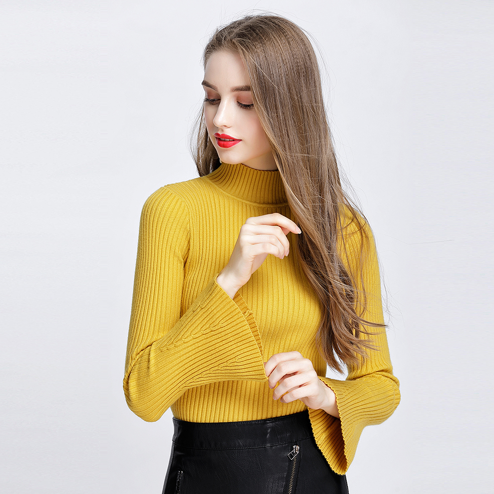 Autumn Winter Women Sweaters And Pullovers 2019 Thick Elegant Turtleneck Brief Slim Flare Sleeve Knitted Sweater Pull Femme 1948