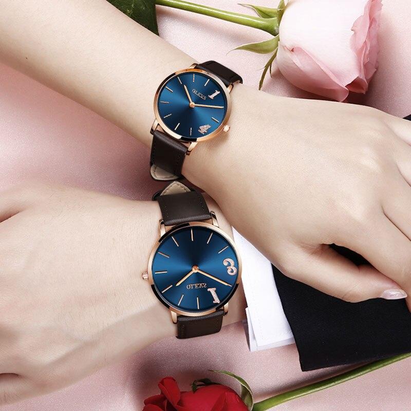 OLEVS Couple Watches Ladies Waterproof Leather Quartz Men Clock Simple Rose Gold