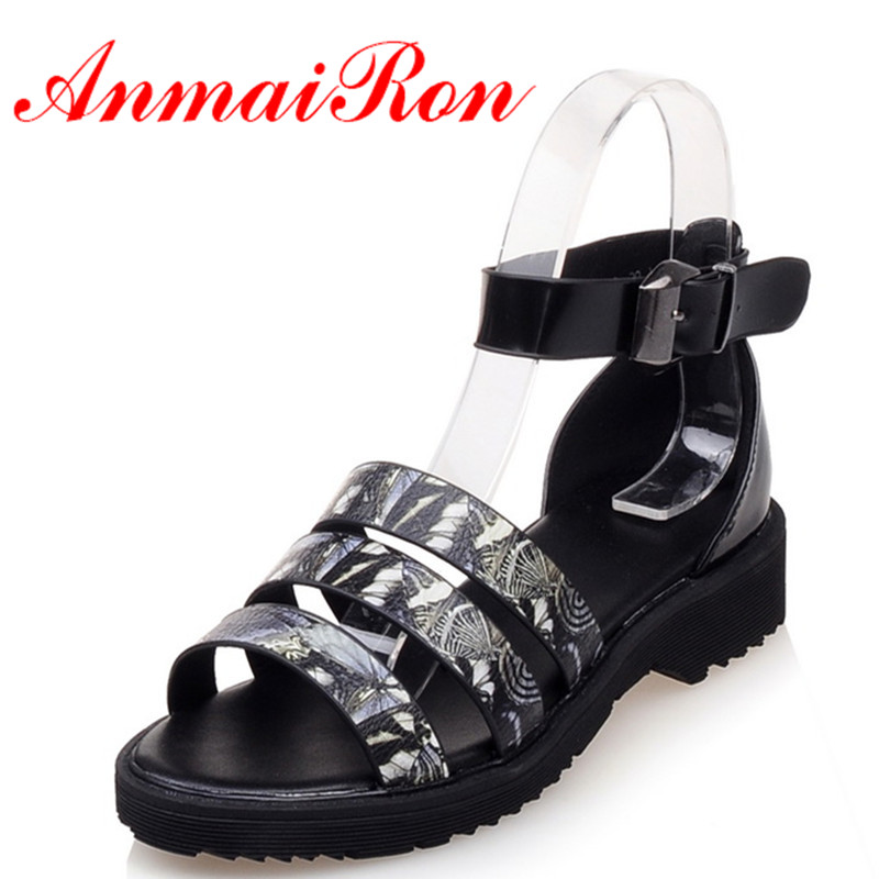 ANMAIRON Fashion Women Low Heels Open Toe Buckle Strap Shoes Woman Size 34-39 Gray Sandals Shoes Summer Platform Casual Shoes  ephemeral ladies zip sandals with heels buckle strap open toe summer casual shoes woman spongy insole plus size 11 12 white pink