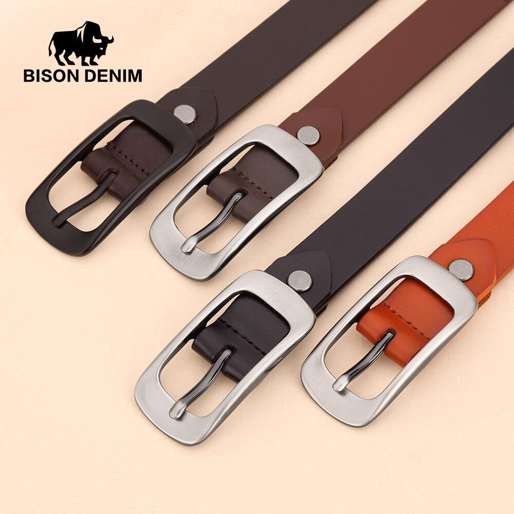 BISON DENIM Weibliche Gürtel Aus Echtem Leder Frauen Gürtel Pin Schnalle Mode Lederband Gürtel Breite 2,3 cm N60215