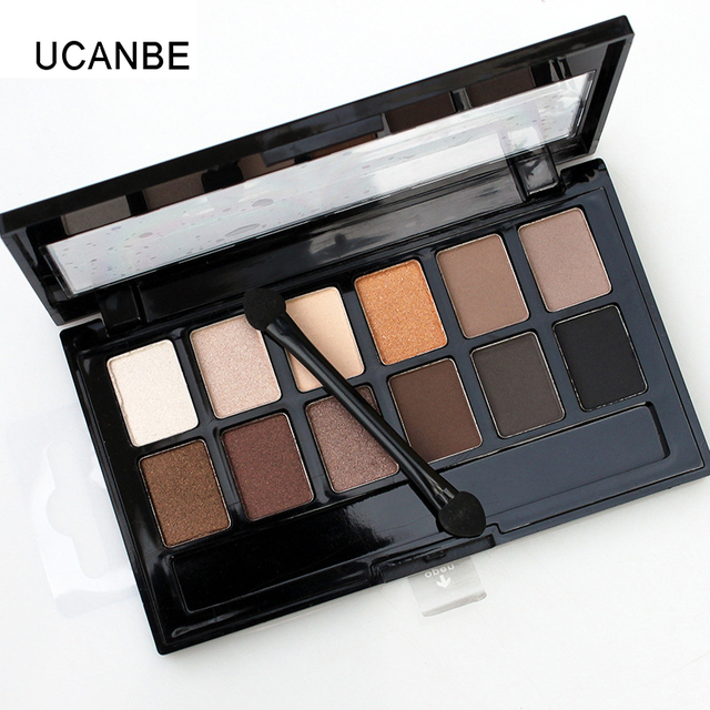 Ucanbe 12 Colors Pro Nude Earth Color Makeup Eyeshadow Palette with Brush Smoky Eye Shadow Shimmer Matte Mineral Waterproof Kits 1