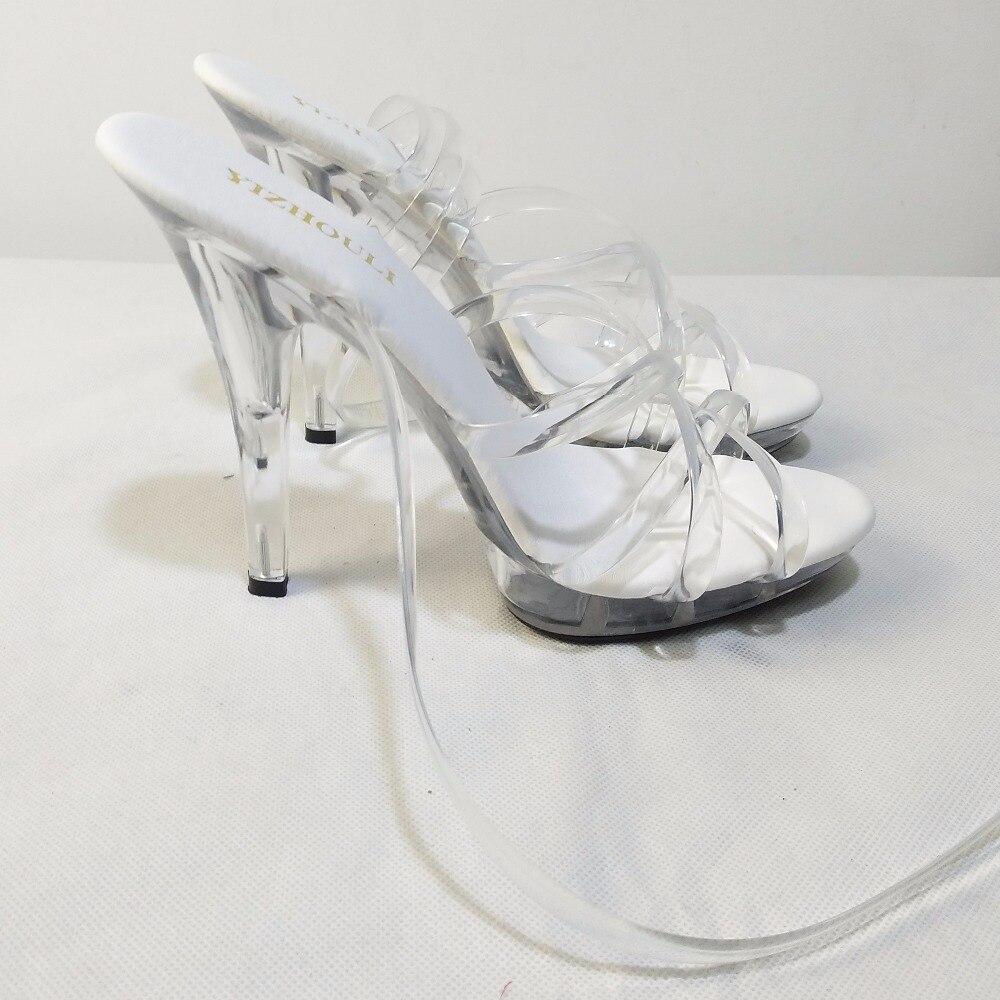 13 Hochzeit Sexy Schuhe Mode Heels Kristall 5 Zoll CM Szene Dame High Performance Ultra Klar Braut 1JlFTcK