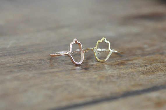 แฟชั่นคุณภาพสูงอุปกรณ์เสริม Hamsa Outline แหวน, vintage vintage Outline of Hamsa แหวนมือ