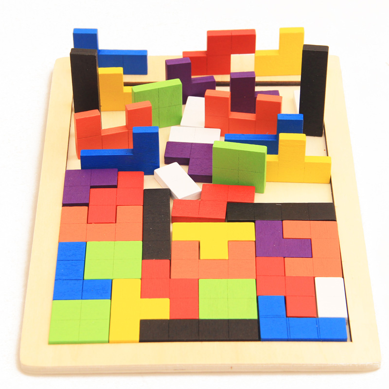 Hot Sale Kids Educational Montessori Wooden Tetris Game Jigsaw Puzzles Geometric Shape Slide Building Puzzle Children's Day Gift