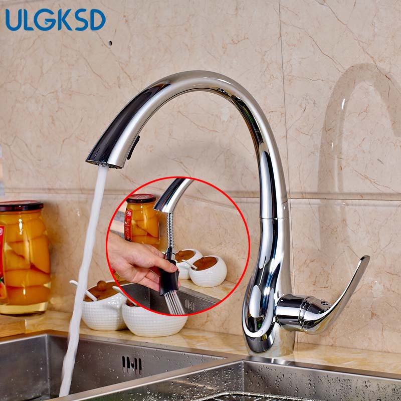 Ulgksd Modern Chrome Pull Out Sprayer Kitchen Faucet Deck Mounted Cover Hot and Cold Water Taps Bathroom Faucet Mixer Faucet матрас roll matratze frau alisa 6 180х200х7 см