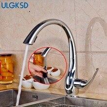 Ulgksd Современный Chrome вытащить распылитель кухонный кран на бортике крышка краны горячей и холодной воды для ванной смеситель кран