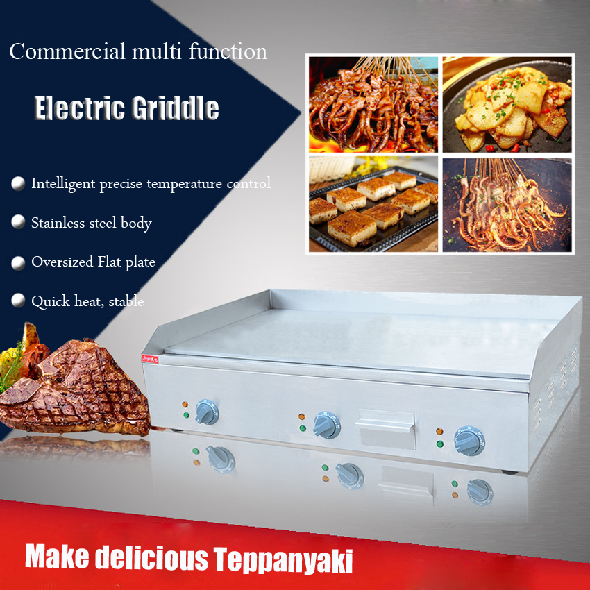 1PC FY-900 Commercial Stainless steel Electric Griddle Flat Pan Electric Grill Teppanyaki Dorayaki Griddle Machine flat 900
