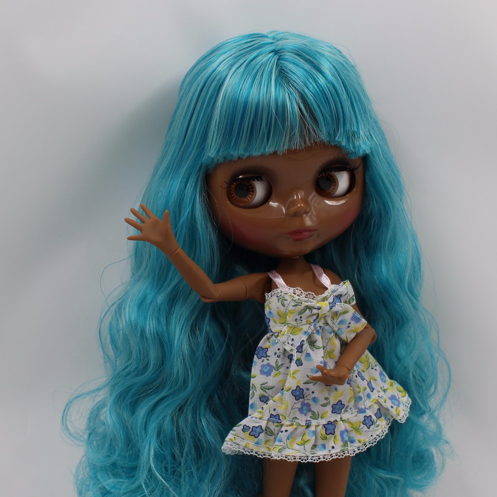 Neo Blythe Doll with Aquamarine Hair, Black skin, Shiny Face & Jointed Body 2