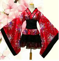 Japanese Kimono Girl Cosplay Clothing Cherry Suits Long Sleeves Maid Mounted