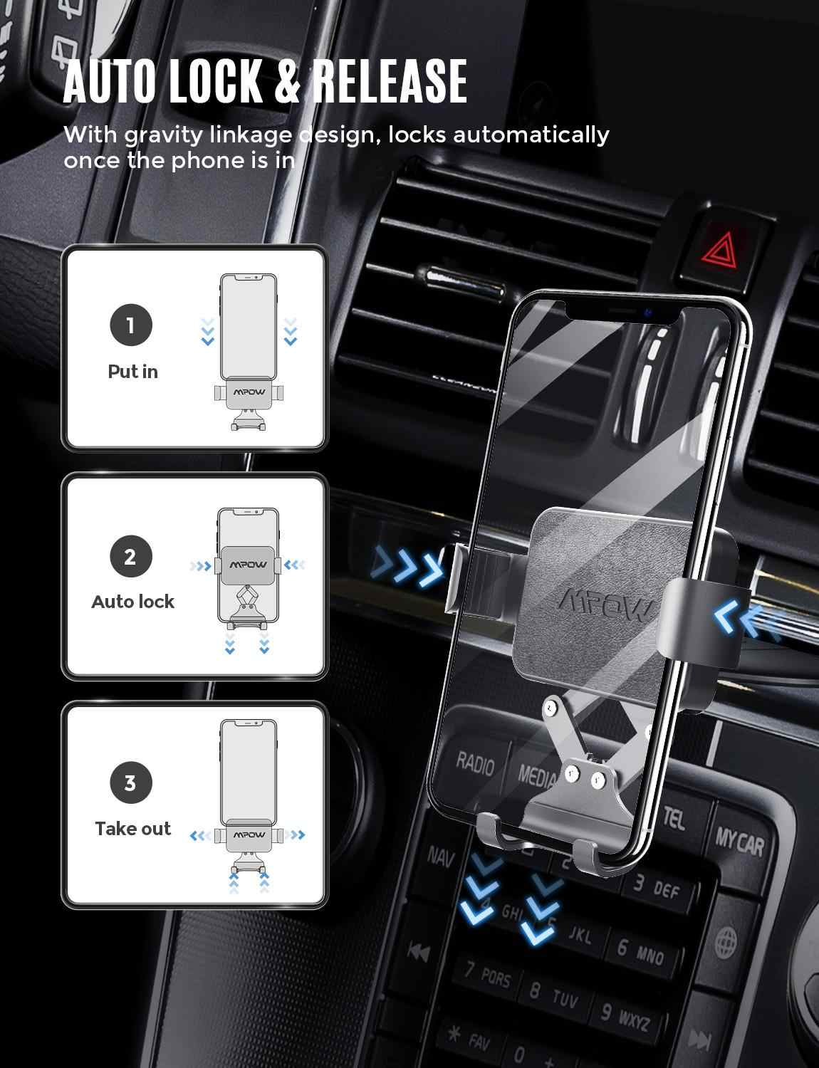 Mpow Ca135 Cd Slot Car Phone Holder Universal For Phones Under 6 5 Inch Gravity Car Mount Auto Clamping Hands Free For Iphone Xs Aliexpress