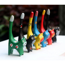 6pcs/set Wooden Cat Craft Handcrafts Animal Christmas Toy Bi