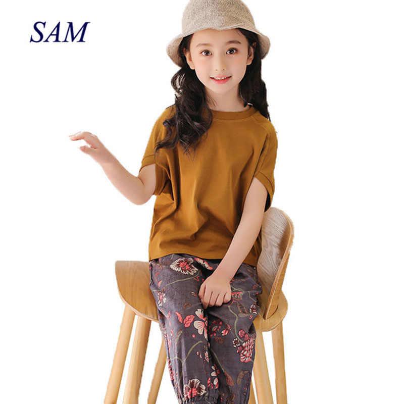 244ea51cb31c Children's clothing sets 2019 summer new girls bat sleeves set big children  cotton linen pants Western