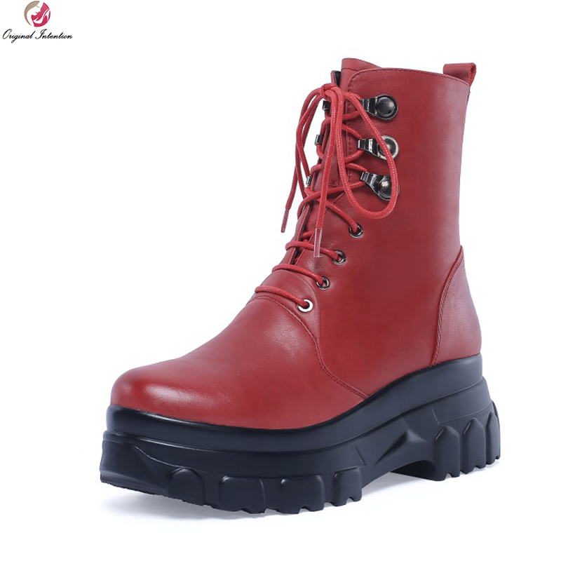 Original Intention Fashion Women Ankle Boots Genuine Leather Round Toe Boots Stylish Black Red Shoes Woman Plus US Size 4-10Original Intention Fashion Women Ankle Boots Genuine Leather Round Toe Boots Stylish Black Red Shoes Woman Plus US Size 4-10
