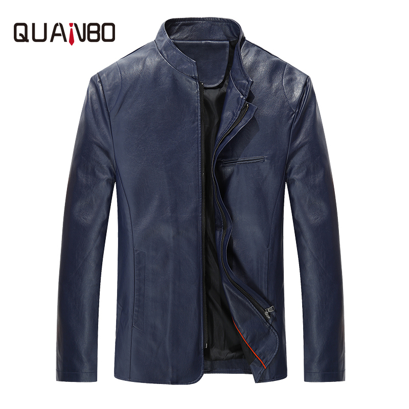 QANBO 2019 New Arrival Spring PU Leather Jacket Fashion Brand Clothing Men Motorcycle Leather Jackets Black Slim Fit Coats 5XL