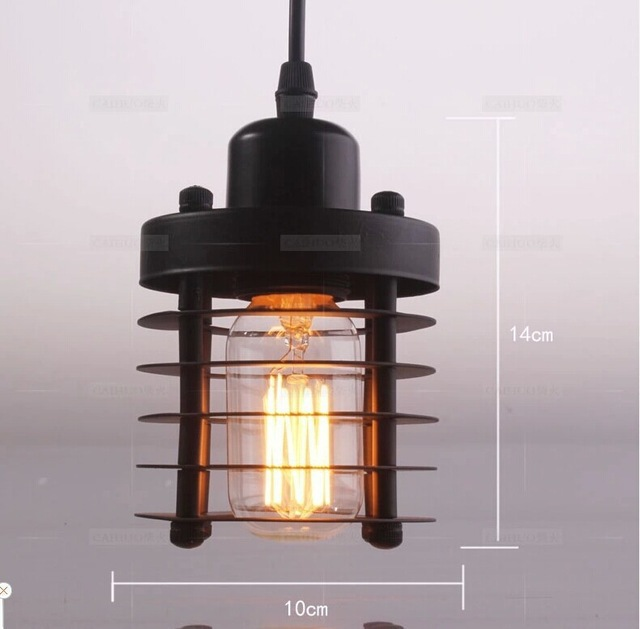 ФОТО Vintage American country style small black iron pendant lights industrial lighting with plating bobeche