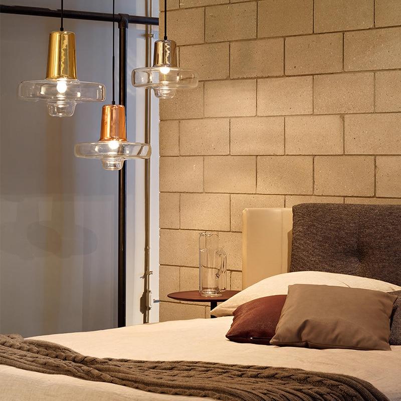 Nordic restaurant Creative personality pendant lights post modern living room restaurant bedroom clear glass shade pendant lamp in Pendant Lights from Lights Lighting