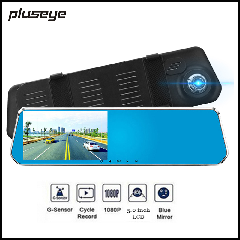 Radar Detector App >> 5.0 inch HD Rear View Mirror Car DVR Radar Detector 1080P Car Camera Recorder dash cam Night ...