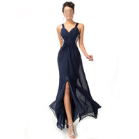 Long Prom Dresses Chiffon Backless Split Strap Deep V Neck Women Maxi Dress Navy Blue Special