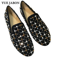 YUE JABON Dress Shoes Men Loafers Rhinestones Crystal Slippers Real Leather Luxury Banquet Men's Flats Business Man Footwear