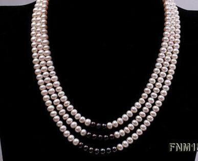 Bijoux belle trois brins femmes 6-7mm blanc avec collier de perles d'eau douce noires