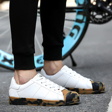 New 2016 Fashion Pu Casual Shoes Lace-Up Low Help Men Mixed Camouflage Flats Star Spring Autumn Solid Zapatos Mujer 36-44