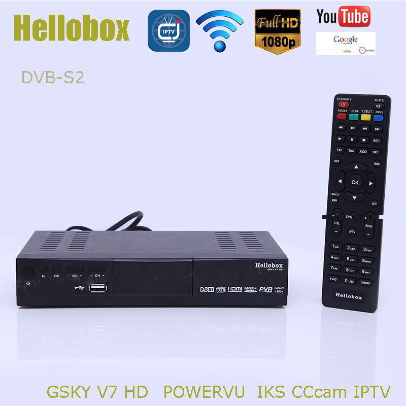 2PCS Hellobox GSKY V7 hd powervu autoroll iks cccam DVB-S2 receiver tv box pk FREESAT support TANDBERG patch [genuine] freesat v7 dvb s2 hd with usb wifi satellite tv receiver support powervu biss key cccamd youtube youporn set top box