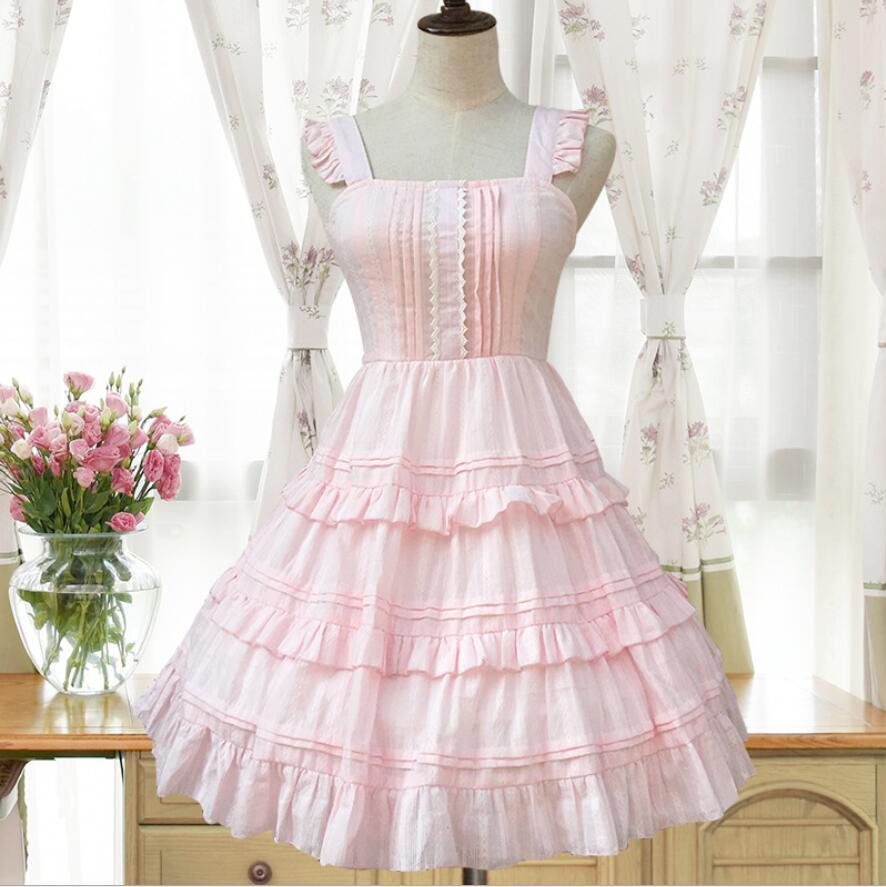 2018 Lolita Court princesse mode rose/blanc fronde sans manches à volants femme robe gothique lolita victorienne douce lolita robe