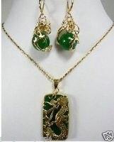 Neue Schmuck Grüne stein Drache Anhänger halskette set>> stein uhr großhandel Quarz stein CZ kristall