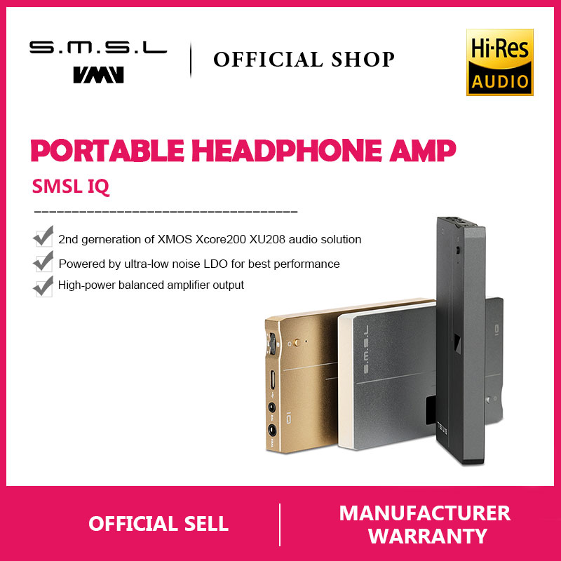 SMSL IQ USB HI-RES Portable headphone Amplifier with DAC DSD512 PCM 768kHZ built in chargeable battery 2.5mm and 3.5mm outputSMSL IQ USB HI-RES Portable headphone Amplifier with DAC DSD512 PCM 768kHZ built in chargeable battery 2.5mm and 3.5mm output
