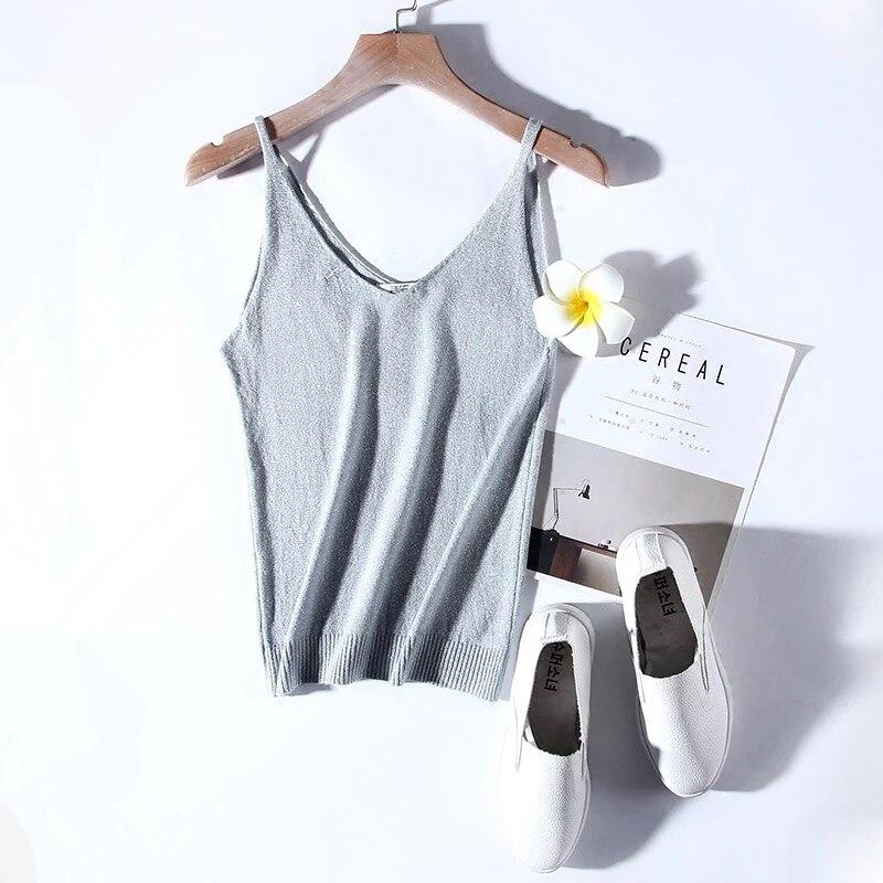 Slim Sexy V-neck Knit Shiner Base Shirt Gallus Waistcoat 15